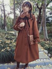Klassische Lolita Mantel Bow Rüschen Wolle braun Lolita Coat