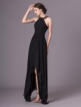 Платье вечернее из черных перьев Halter Асимметричное платье для коктейлей