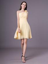 Short Bridesmaid Dresses Daffodil One Shoulder Chiffon Wedding Party Dress