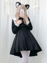 Gothic Lolita OP Dress Pleated Two Tone Bow Black Lolita One Piece Dress
