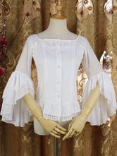 Classic Lolita Shirt Lace Ruffle Semi Sheer Chiffon Lolita Blouse