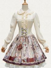 Classic Lolita Shirt Bow Lace Ruffle Chiffon Lolita Blouse