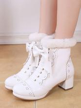 Sweet Lolita Boots Bow Frill Furry Chunky Heel White Lolita Footwear