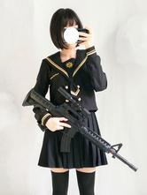 Vestito da marinaio stile lolita moschettiere nero manica lunga con bottoni e gonna a pieghe
