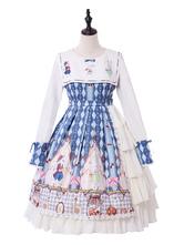 Robe Lolita Classique OP 2020 Cookie Lapin Plissé Noeud Bleu Léger Robe Lolita Une Pièce