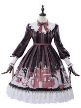 Robe Lolita Classique OP 2020 Neige et Fille Imprimé Noeud Plissé Noir Robe Lolita Une Pièce