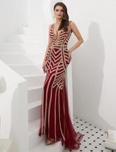 Robes de soirée sirène rayures perlées sans manches col V robe de cérémonie