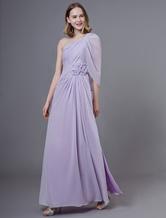 Robes de bal longues en mousseline de soie lilas une robe de soirée