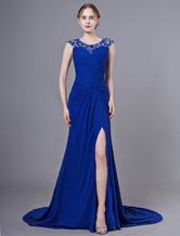 Robes De Soirée Royal Bleu Perles Haute Split Mousseline De Soie Plissees Robes Formelles Avec Train