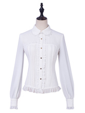 Classic Lolita  Blouses Ruffles Lace Lolita Top Long Sleeves Top White  Lolita Shirt