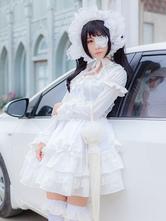 Date A Live Tokisaki Kurumi Хэллоуин Косплей Костюм Белая Готическая Лолита Цельное Платье