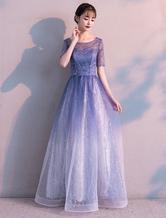 Vestidos de fiesta largos Ombre Tulle lentejuelas media manga vestido de noche formal