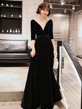 Black Prom Dresses Velvet Long Illusion V Neck Half Sleeve A Line Formal Gowns