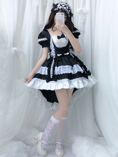 lolita OP dress Maid Two-Tone Black Ruffles Robes une pièce Lolita