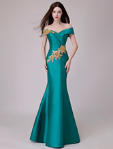 Abendkleider Schulterfrei Meerjungfrau Satin Maxi Formelle Kleider