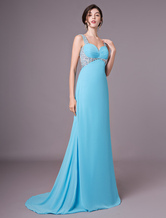 Long Prom Dresses Aqua Chiffon Beaded Rhinestones Cut Out Formal Evening Gowns With Train