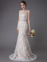 Vestido de noiva sem alças da jóia do champanhe do vestido de casamento do laço do vestido de casamento sem mangas da sereia com trem
