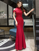 Formal Evening Dress 2020 Red Prom Dresses Mermaid Floor Length Short Sleeve Graduation Party Dresses