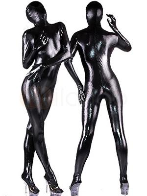 Wet Shiny Black Catsuit Halloween Full Bodysuit Costume  Halloween