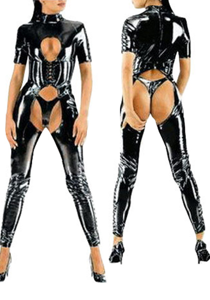 Halloween Sexy Catsuit Shiny Black PVC Bodysuit Halloween