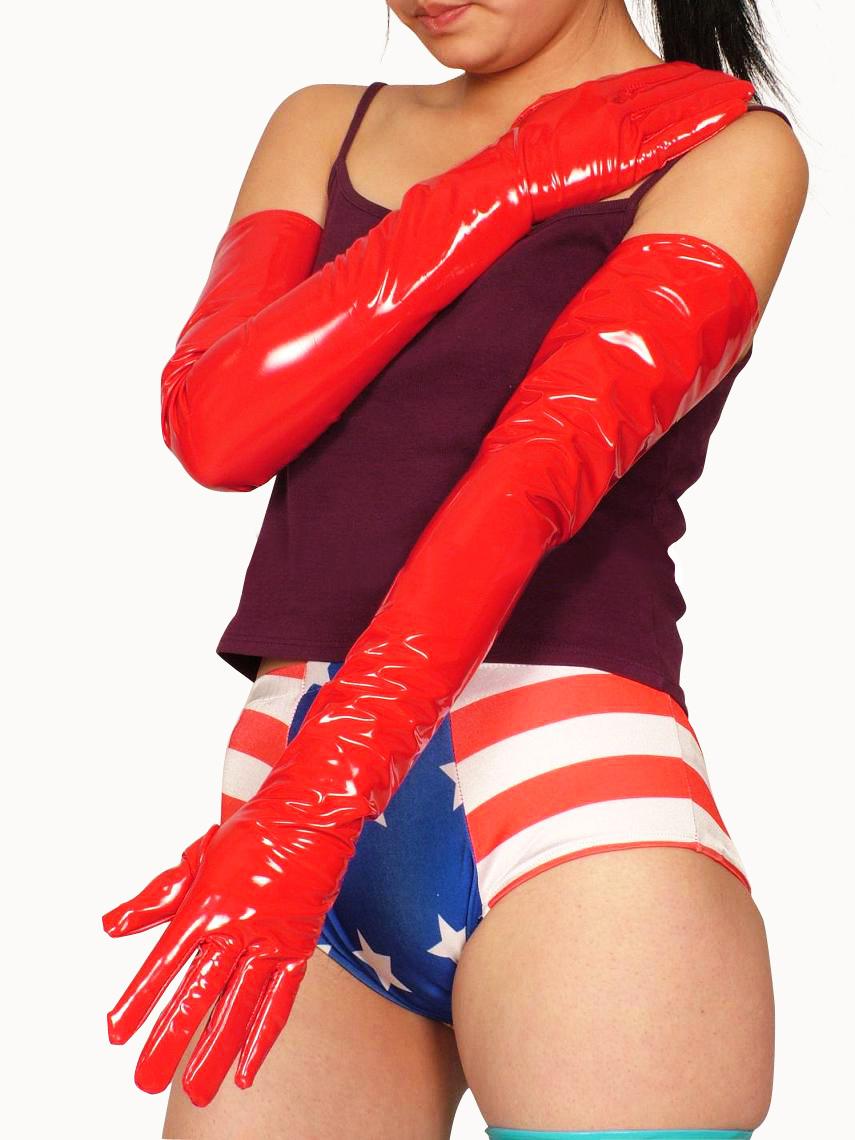 Halloween PVC Red Shoulder Length Gloves Halloween