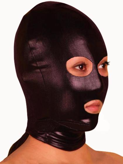 Halloween Shiny Metallic Black Mask with Eye and Mouth Openings Halloween