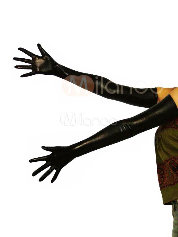 Shiny Metallic Black Shoulder Length Gloves Halloween