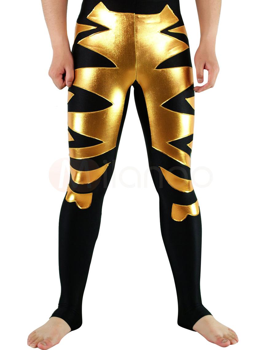 Halloween Black Lycra Spandex Wrestling Bottoms with Golden Pattern Halloween