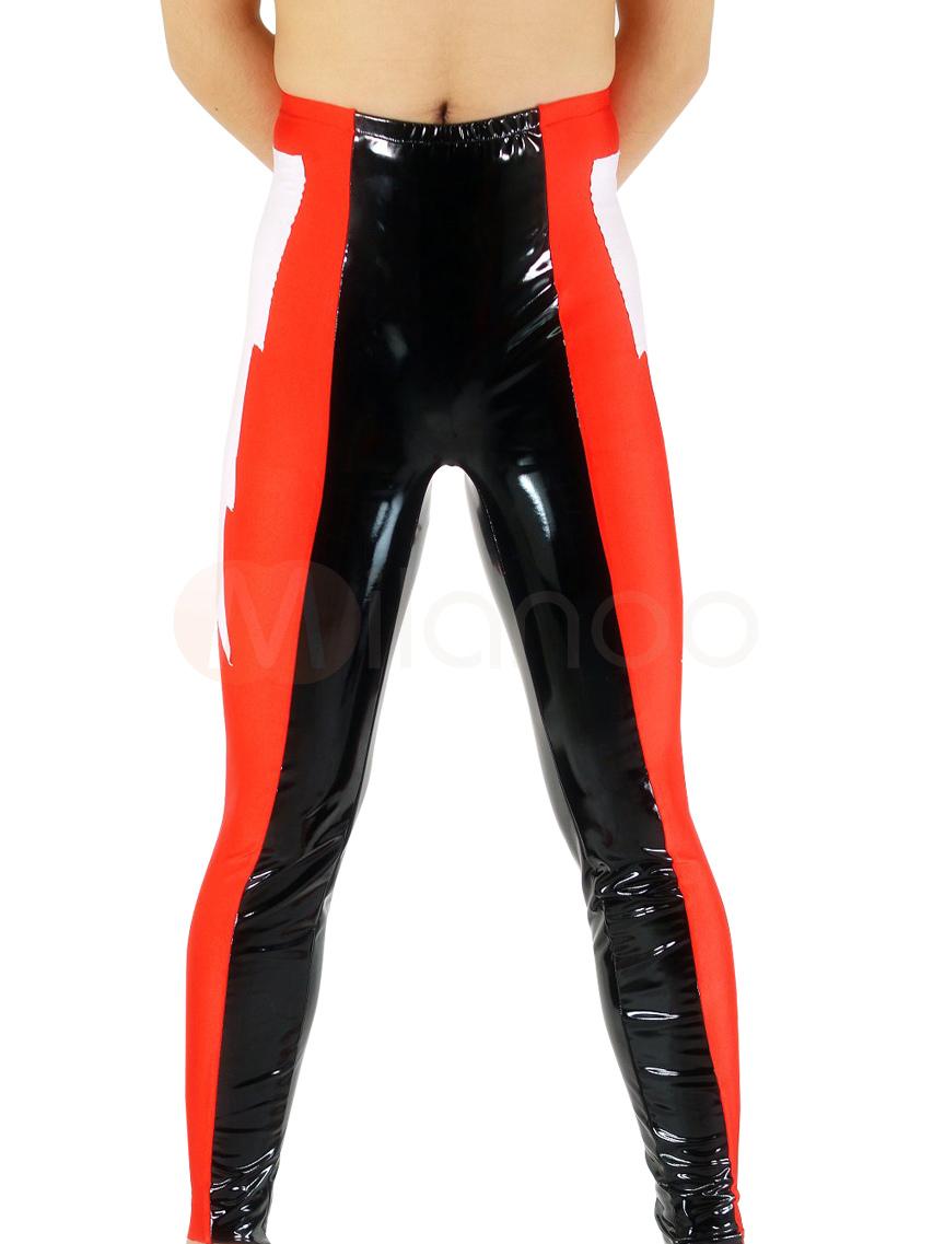 Halloween Black & Red Shiny Metallic Wrestling Bottom Halloween