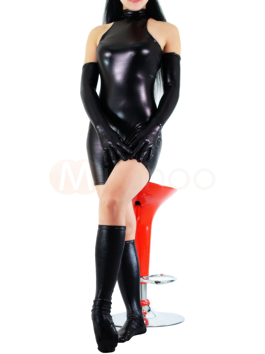 Black Shiny Metallic Half Length Sleeveless Unisex Catsuit With Gloves And Half Stockings No