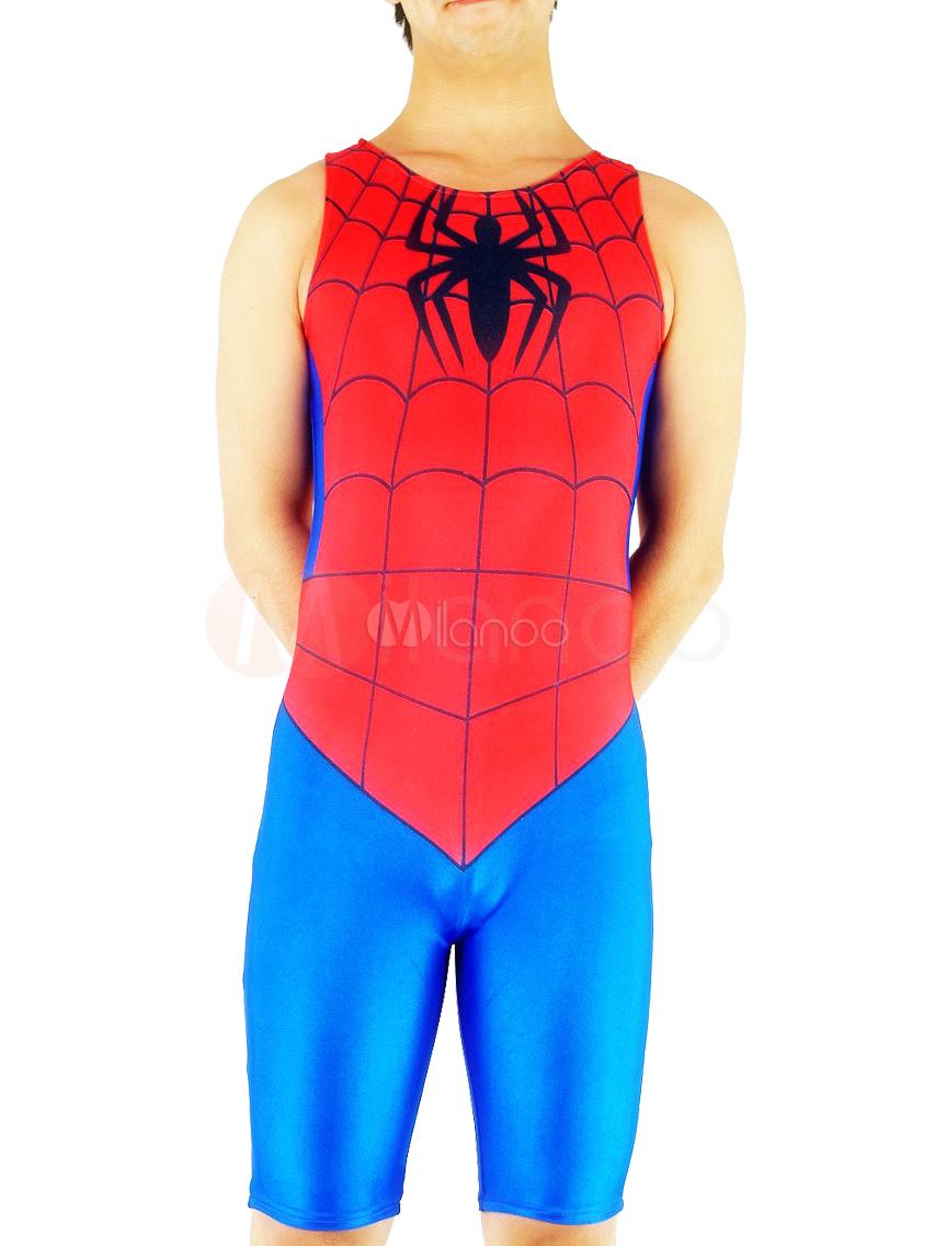 Halloween Spiderman Zentai Suit Half Length Lycra Spandex Bodysuit Halloween