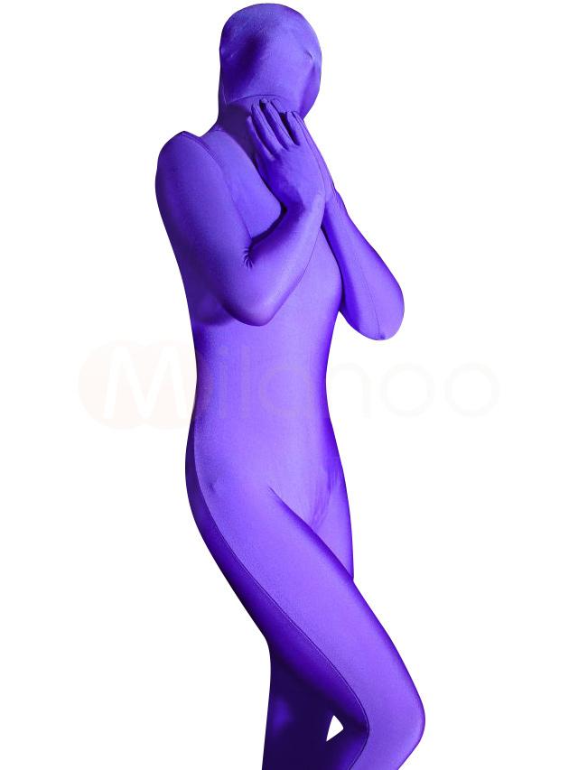 Halloween Purple Zentai Suit Spandex Full Bodysuit Halloween