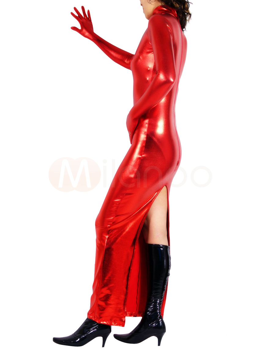 Halloween Sexy Red Catwoman Catsuit Shiny Metallic Back Split Dress Halloween