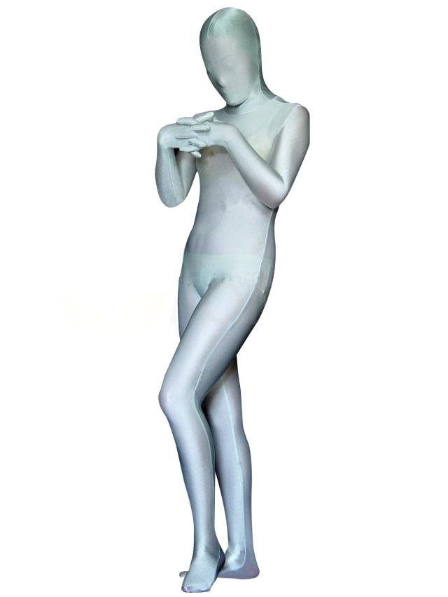 Halloween Silver Gray Lycra Spandex Unisex Zentai Suit Morphsuits Halloween