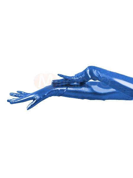 Halloween PVC Blue Shoulder Length Gloves Halloween