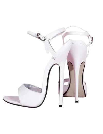 Sandale blanche à bout ouvert en verni aux talons hauts