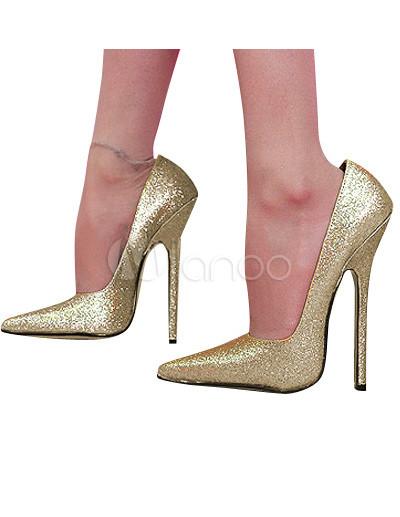 la mejor actitud dd22d 4c063 Zapatos de punta de color dorado de tacón de aguja