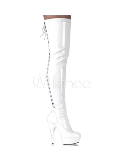 Super baratas diseño encantador super popular Botas blancas con plataforma de tacón alto de estilo sexy