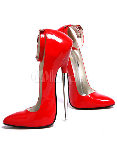 7'' Clear High Heel Red Ankle Strap Pump Shoes - Milanoo.com
