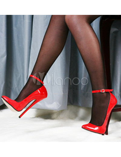 7'' High Heel Red Ankle Strap Pump Shoes - Milanoo.com
