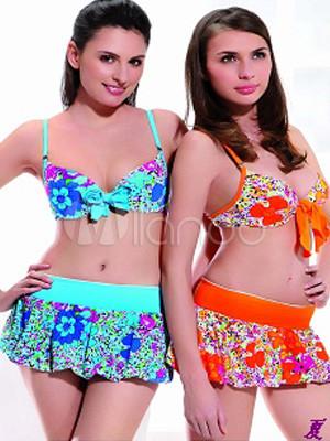 56339c9047a2 Florales de dos piezas con falda traje de baño - Milanoo.com