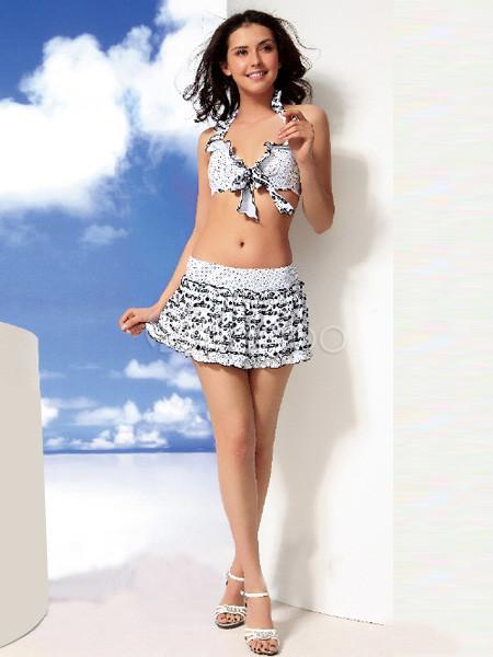 26c87cfa9b7d Vestido de volantes de dos piezas con falda traje de baño - Milanoo.com