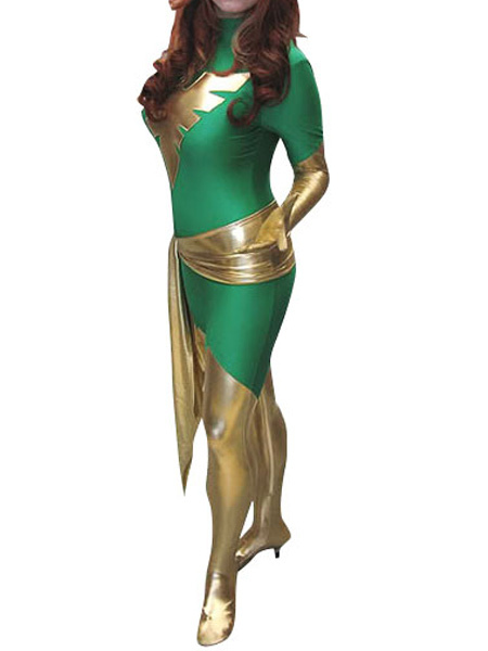 St Patricks Day Costume Green Phoenix Lycra Shiny Metallic Super Hero Costume Halloween