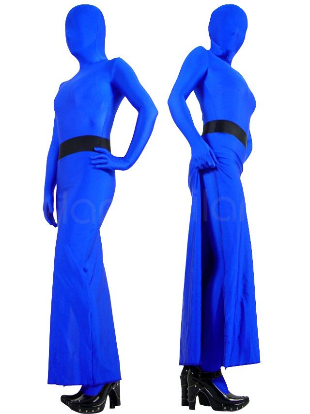 Halloween Blue Lycra Spandex Unisex Zentai Suit in Skirt Style Halloween