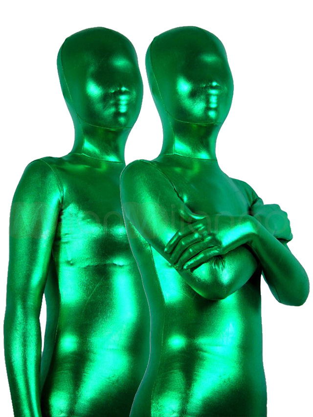 Buy St Patricks Day Costume Green Zentai Suit Unisex Full Body Shiny Metallic Bodysuit Halloween for $27.54 in Milanoo store