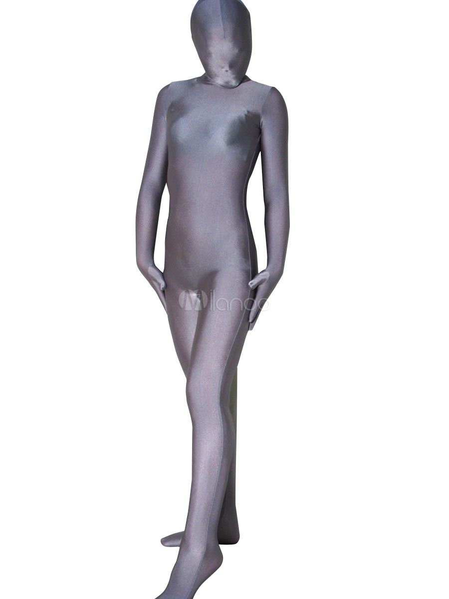 Gris Argenté Unisexe Lycra Spandex Zentai Costume S-XXL