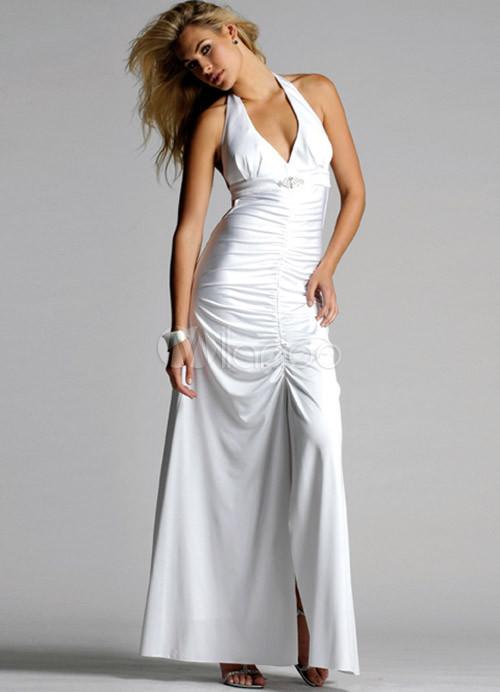 que buen look Tener cuidado de compra venta Vestido Blanco Vestido de raso únicos profundo escote en V vestido de baile