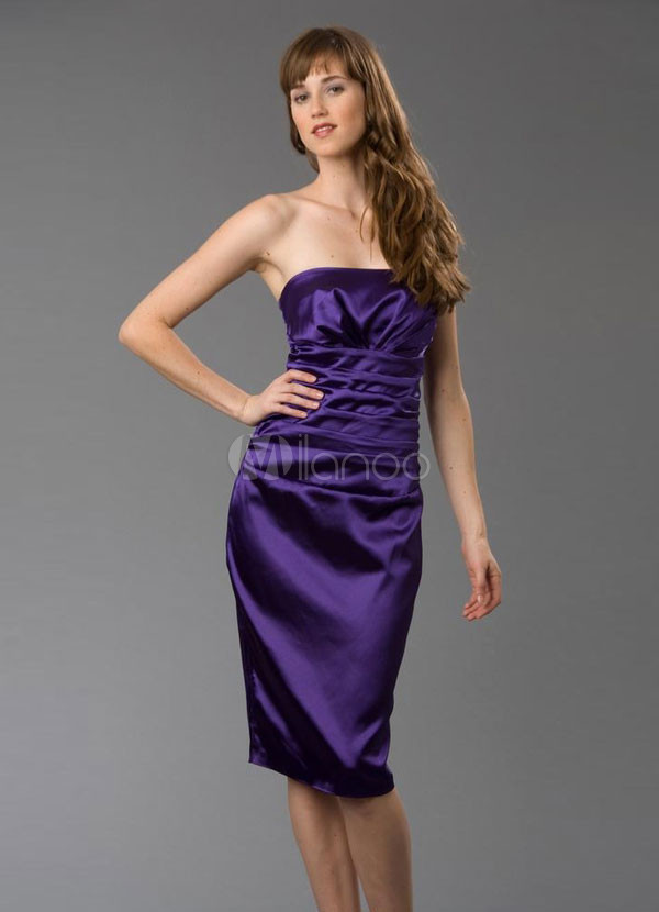 Strapless rodilla longitud satinado vestido de cóctel/Homecoming ...