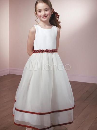 comprar baratas lista nueva fina artesanía Vestido de niña de las flores de organdí y de raso blanco de faja rojo