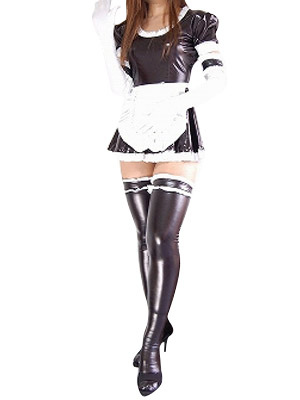 Halloween Black Shiny Metallic Catsuit Sexy French Maid DressC Halloween